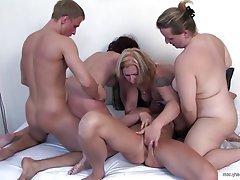 Group Sex, Granny, Mature, MILF